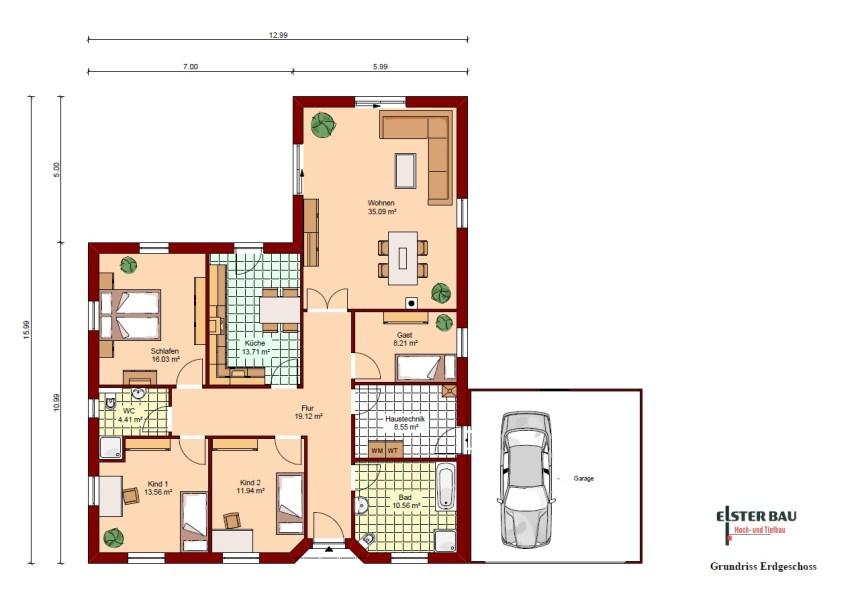 Winkelbungalow Mit Garage Außenmaße: 12,99 M X 15,99 M. Vollgeschosse: 1. Wohnfläche  Nach DIN 277: 141,18 M². Nettogrundfläche: 145,55 M². Dachneigung: 22°