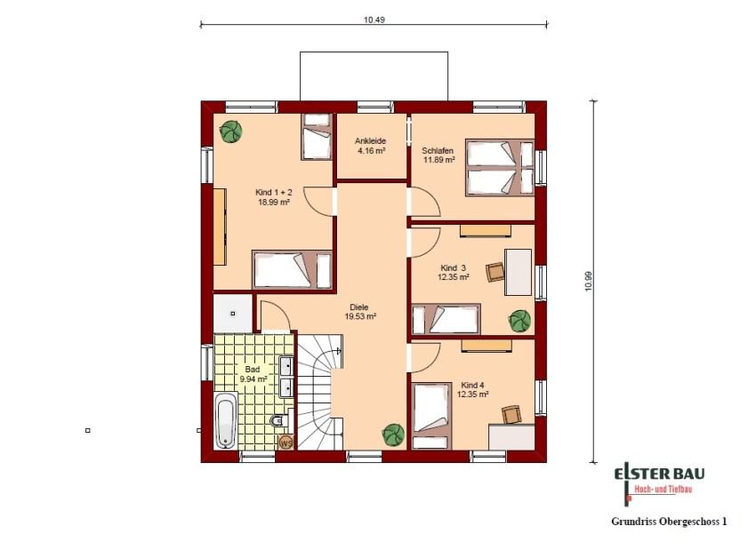 Stadtvilla Mit Garage Außenmaße: 10,49 M X 10,49 M. Vollgeschosse: 2. Wohnfläche  Nach DIN 277: 182,83 M². Nettogrundfläche: 217,52 M². Dachneigung: 23°
