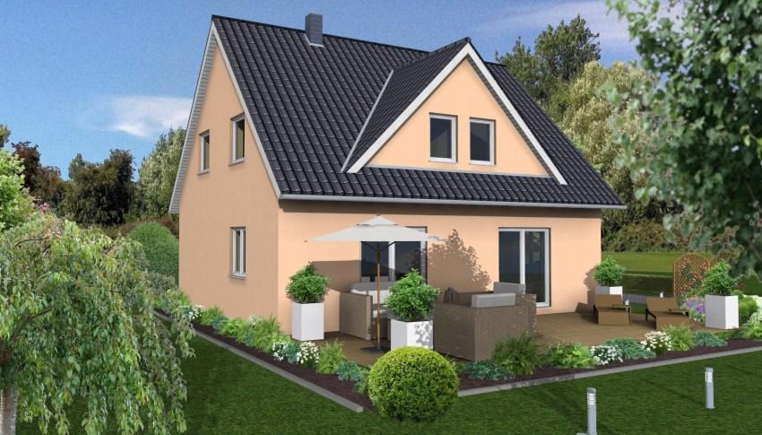 Wohnhaus 1 ½  Geschossig. Außenmaße: 10,00 M X 8,75 M. Vollgeschosse: 1,5. Wohnfläche  Nach DIN 277: 120,86 M². Nettogrundfläche: 137,08 M². Dachneigung: 45°