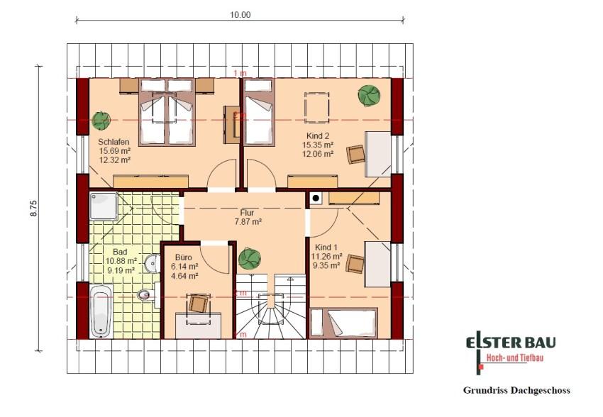 Wohnhaus 1 ½  Geschossig. Außenmaße: 10,00 M X 8,75 M. Vollgeschosse: 1,5. Wohnfläche  Nach DIN 277: 120,34 M². Nettogrundfläche: 138,42 M². Dachneigung: 38°